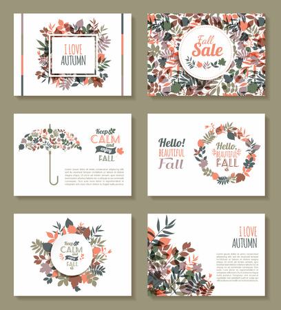 Fall set. Medal and leaves composition.Banners of autumn season. 일러스트