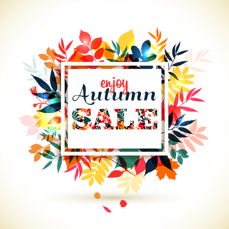 Autumn illustration of leaves. Autumn sale.
