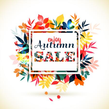 Autumn illustration of leaves. Autumn sale.