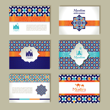 fitr: Banners set of ethnic design. Religion abstract set of layout with ornament.