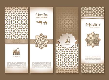 横幅套种族设计。宗教摘要套与装饰品的布局。