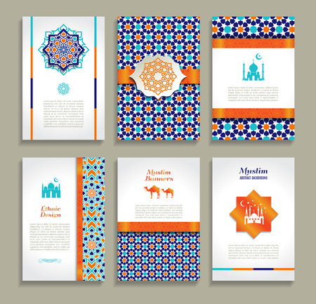 broshure: Banners set of ethnic design. Religion abstract set of layout with ornament.