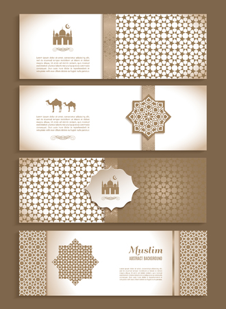 etnic: Banners set of ethnic design. Religion abstract set of layout with ornament.