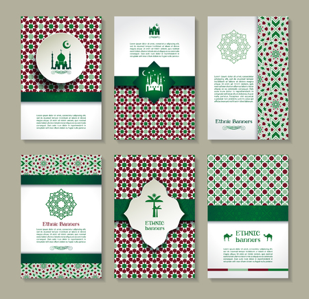 religious: Banners set of ethnic design. Religion abstract set of layout with ornament.