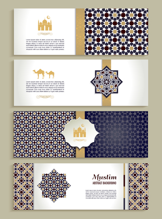 star background: Banners set of ethnic design. Religion abstract set of layout with ornament.