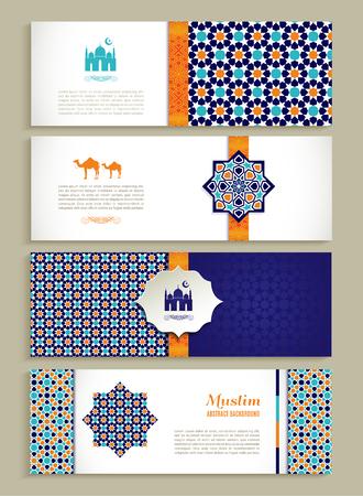 Banderas conjunto de diseño étnico. Religión conjunto abstracto de diseño con el ornamento. Foto de archivo - 46610981