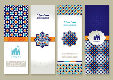 refugees: Banners set of ethnic design. Religion abstract set of layout with ornament.