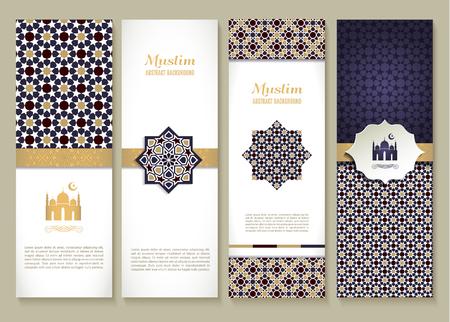 simbolos religiosos: Banderas conjunto de diseño étnico. Religión conjunto abstracto de diseño con el ornamento.