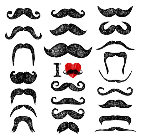 cartoon hairdresser: Mustaches set. Design elements. Hand drawn set.