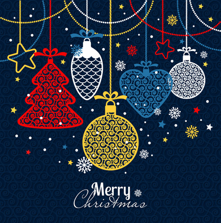 New Years greeting card merry Christmas. Bright New Years toys on a blue background with snowflakes. Illustration