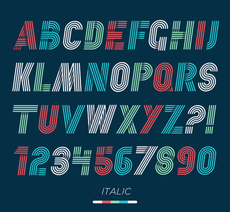 funky: Retro stripes funky fonts set,trendy elegant retro style design. Vector design.