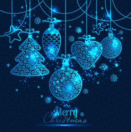 blue card: New Years greeting card merry Christmas. Bright New Years toys on a blue background with snowflakes. Illustration