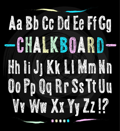 Chalkboard font. Hand draw alphabet. Vector illustration on black texture background.