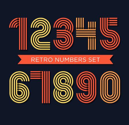 funky: Retro stripes funky numbers set,trendy elegant retro style design. Vector design.