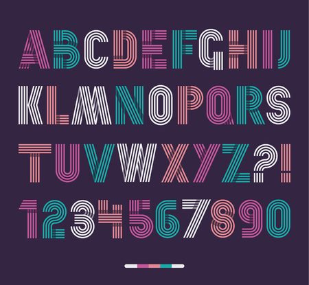 Retro stripes funky fonts set,trendy elegant retro style design. Vector design.