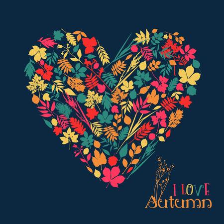 hojas de arbol: Me encanta el oto�o. Vector ilustraci�n de dise�o con el coraz�n.