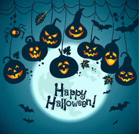 Fondo de Halloween de las calabazas alegres con la luna.