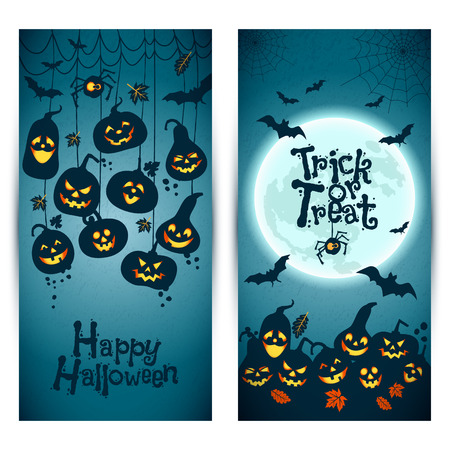 halloween bat: Halloween background of cheerful pumpkins with moon. Banners set.