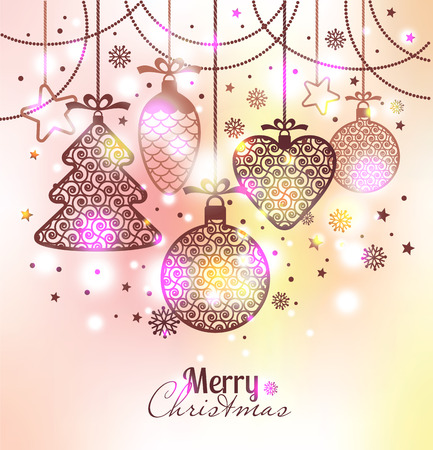 New Years greeting card merry Christmas. Bright New Years toys on a soft background with snowflakes. Illustration