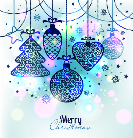 christmas holiday: New Years greeting card merry Christmas. Bright New Years toys on a soft background with snowflakes. Illustration