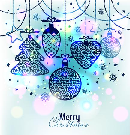 mo�os navide�os: Tarjeta de felicitaci�n de A�o Nuevo Feliz Navidad. Juguetes brillante del A�o Nuevo en un fondo suave con copos de nieve.