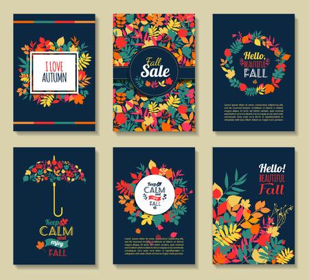 otoñales: Fall establecido. Hojas composition.Banners de la estación del otoño.
