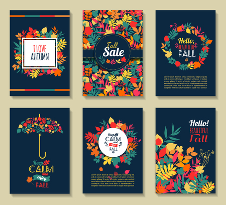 Fall set. Leaves composition.Banners of autumn season. Banco de Imagens - 47965724