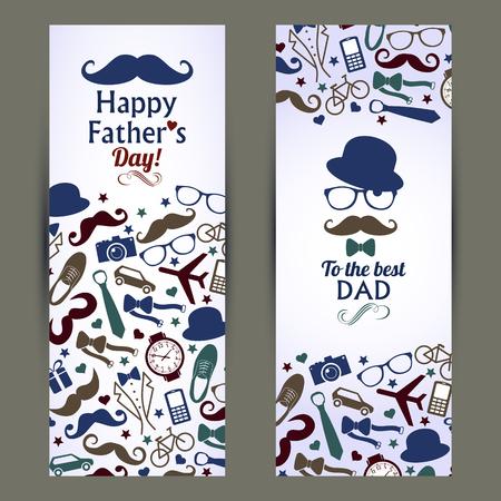 bigote: Padres conjunto día de banners.Vector ilustración.