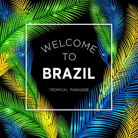 carnaval: Bienvenue au Brésil! Vector illustration de la couleur de palme.