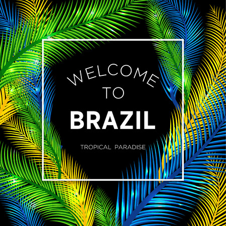 Welcome to Brazil! Vector illustration of color palm. Zdjęcie Seryjne - 47965733