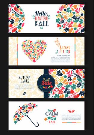 the season: Fall set. Leaves composition.Banners of autumn season.