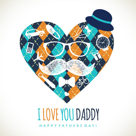 vintage invitation: Fathers day card  in retro style. Vector illustration. Illustration