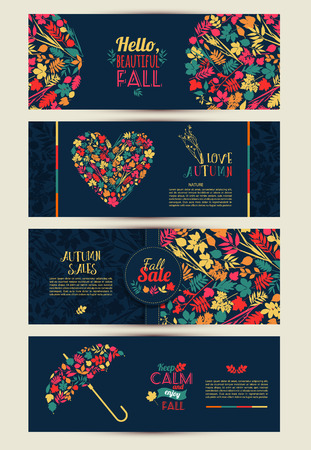 Fall set. Leaves composition.Banners of autumn season.