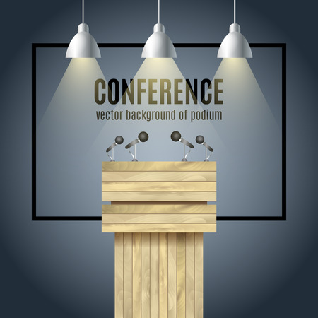 conference speaker: Vector Wooden Podium Tribune Rostrum Stand with microphones and spotlights. Illustration