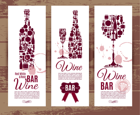 Wine bar menu card....Banners set vector illustration. Vectores