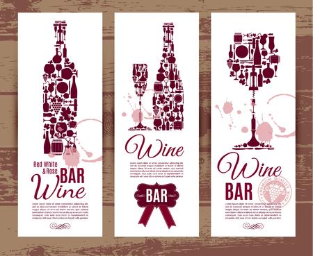 vinho: Wine cartão do menu do bar .... Bandeiras ajustadas ilustração do vetor. Ilustração