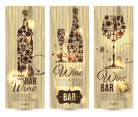 stopper: Wine bar menu card....Banners set vector illustration on wood.