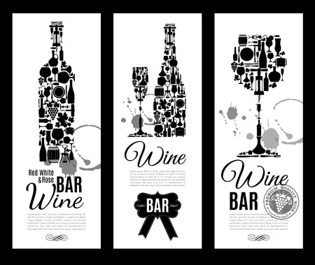 stopper: Wine bar menu card....Banners set vector illustration. Illustration