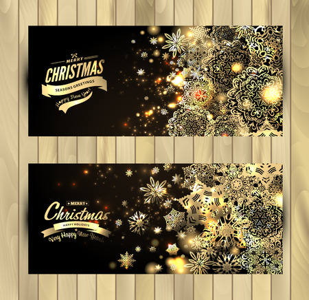 Snowflake background. Vector holiday backdrop. Set of christmas banners.