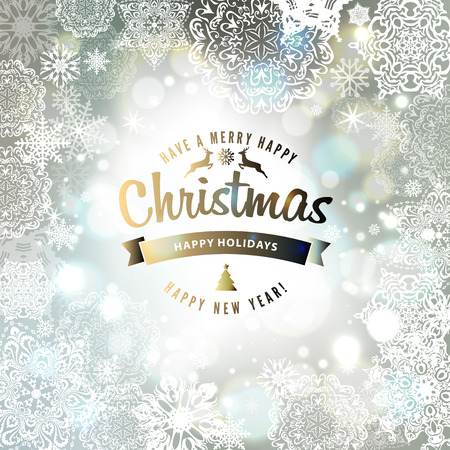 winter background: Snowflake background. Vector holiday backdrop.