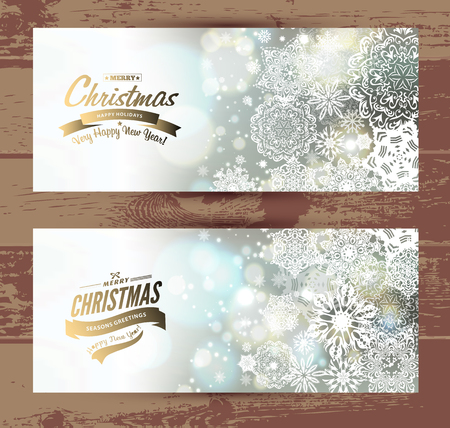 greetings card: Snowflake backgroundset of christmass banners. Vector holiday backdrop.