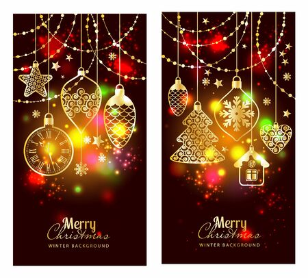 christmass: Christmass toys on dark background. Holiday banners set.