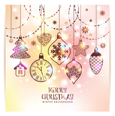 new years: New Years greeting card merry Christmas. Bright New Years toys on a soft background with snowflakes. Illustration