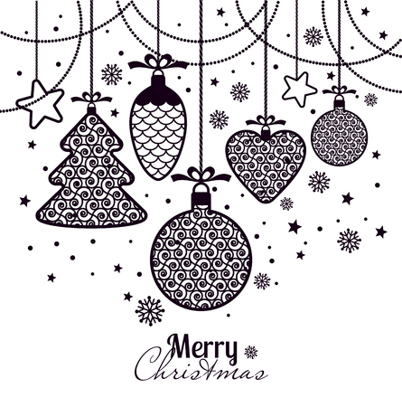 new years greeting card merry christmas black new years toys on a white background with