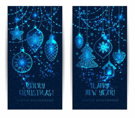 year greetings: Christmas toys on dark blue background. Holiday banners set.