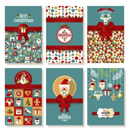 xmas tree: Holiday banner set of Christmas in flat style. Bright background new years set.