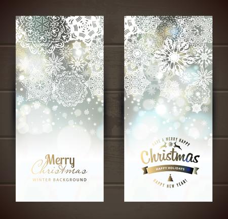 navidad elegante: Copo de nieve backgroundset de banners christmass. Vector vacaciones telón de fondo.