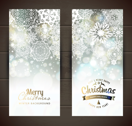 silver frame: Snowflake backgroundset of christmass banners. Vector holiday backdrop.