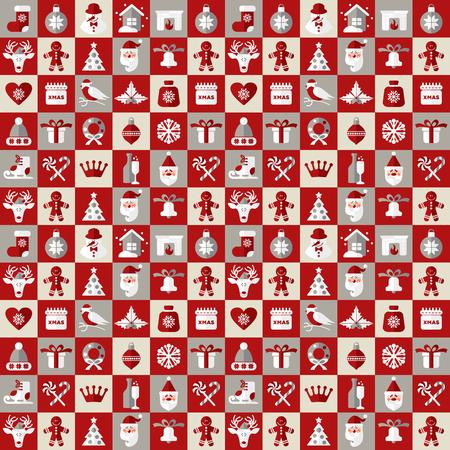 corona navidad: Iconos del diseño de la Navidad. Vector patrón background.seamless de la decoración de navidad.