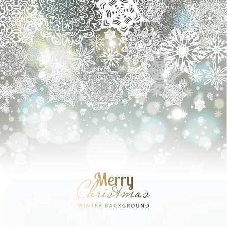 Sneeuwvlok achtergrond. Vector vakantie achtergrond. Stock Illustratie